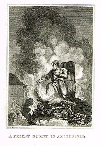 Miniature History of England - A PRIEST BURNT IN SMITHFIELD - Copper Engraving - 1812