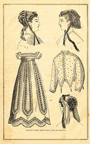 Harper's Magazine's - INFANT'S DRESS - Lithograph - c1860