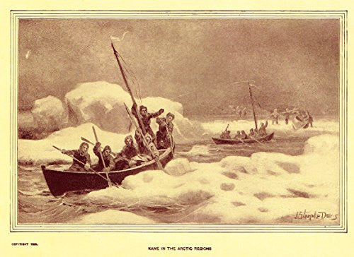 "Youth's History - ""KANE IN THE ARCTIC REGIONS"" - Lithograph - 1898"