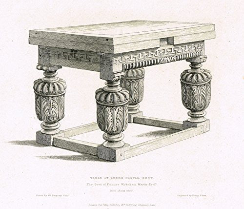 "Shaw's Ancient Furniture - ""TABLE AT LEEDS CASTLE, KENT"" - Large Steel Engraving - 1836"