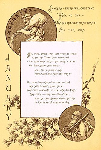 "Mary A. Lathbury's Monthly Poems - ""JANUARY POEM"" - Tinted Chromolithograph - 1885"