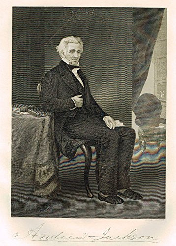 "Chappel's National Portrait Gallery - ""Andrew Jackson"" - Steel Engraving"" - 1864"