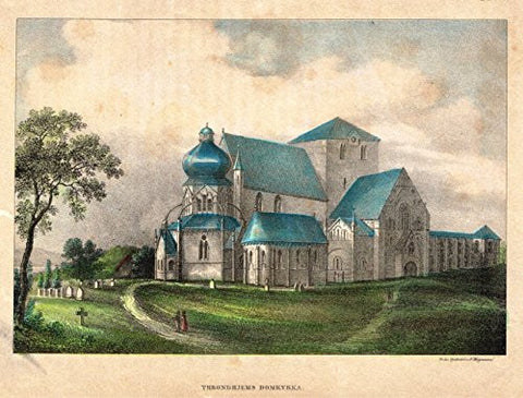 Foreign Buildings - THRONDHJEMS DOMKYRKA - Hand-Colored Engraving - c1890