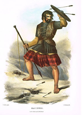 "Clans & Tartans of Scotland by McIan - ""MACINNES"" - Lithograph -1988"