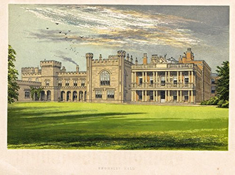 "Country Seats by F.O. Morris - ""KNOWSLEY HALL"" - Chromolithograph - 1866"
