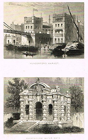 "Tallis's London - ""HUNGERFORD MARKET & BUCKINGHAM WATER GATE"" - Steel Engraving - 1851"
