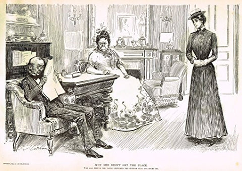 "The Gibson Book - ""WHY SHE DID'T GET THE PLACE"" - Lithograph - 1907"