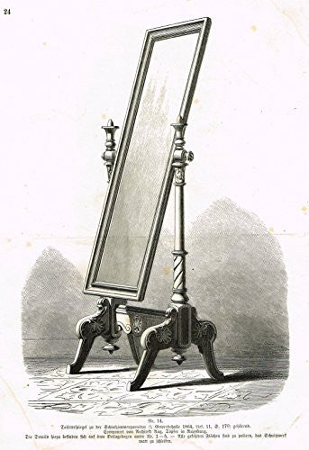 Baumer's 'Gewerbehalle'- DECORATIVE DRESSING MIRROR - c1870