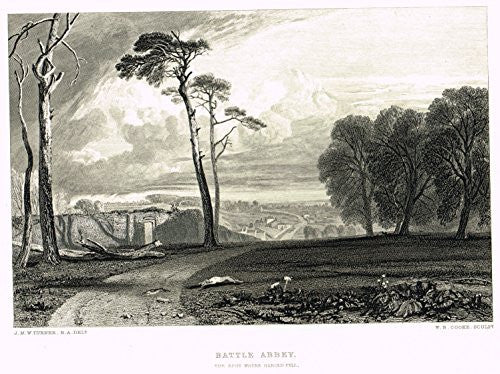 J.M.W. Turner's - BATTLE ABBEY - Steel Engraving - 1880