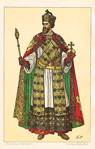 "Hottenroth's Le Costume - ""KING WITH GLOBE"" - Chromolithograph - 1890"