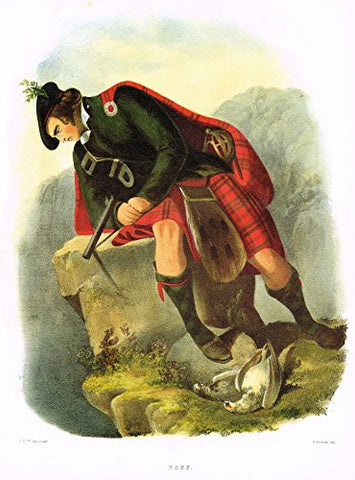 "Clans & Tartans of Scotland by McIan - ""ROSS"" - Lithograph -1988"