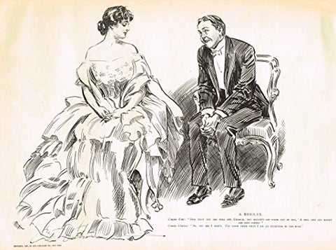"The Gibson Book - ""A RESOLVE"" - Lithograph - 1907"