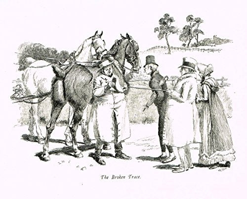 "Tristram's Coaching Ways - ""THE BROKEN TRACE"" - Lithograph - 1888"