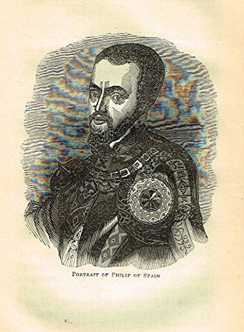 "Abott's Queen Elizabeth - ""PORTRAIT OF PHILIP OF SPAIN"" - Wood Engraving - 1869 - Sandtique-Rare-Prints and Maps"