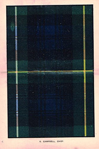 "Johnston's Scottish Tartans - ""CAMPBELL CHIEF"" - Chromolithograph - c1899"