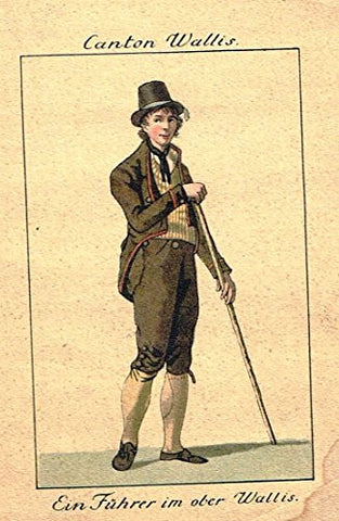 Miniature Print - EIN FUHRER IM OBER WALLIS - Hand Colored Copper Engraving -c1820