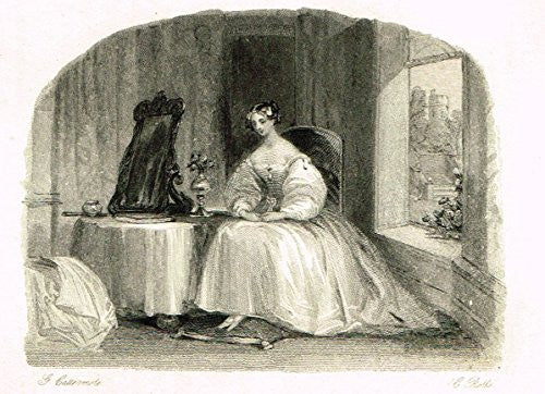 "Cattermole's 'Haddon Hall' - ""THE POET'S BRIDE"" - Miniature Steel Engraving - 1860"