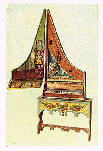 "Hipkins Musical Instruments - ""Spinet Piano"" - Stipple Chromolithograph - 1923"