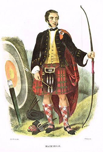 "Clans & Tartans of Scotland by McIan - ""MACKINNON"" - Lithograph -1988"