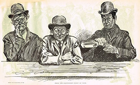 "The Gibson Book - ""FROM THE BARTENDER'S POINT OF VIEW"" - Lithograph - 1907"