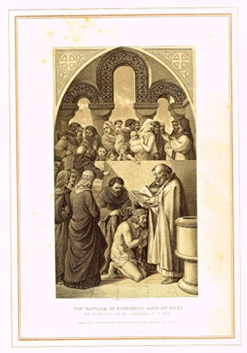 "Archer's Royal Pictures - ""THE BAPTISM OF ETHELBERT, KING OF KENT"" - Tinted Engraving - 1880"