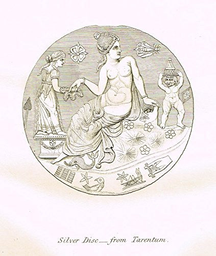 "Archaeologia's Antiquity - ""SILVER DISC FROM TARENTUM"" - Engraving - 1852"
