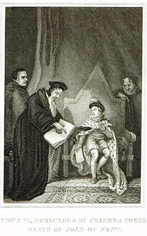 Miniature History - EDWARD VI PERSUADED BY CRAMNER - Copper Engraving - 1812