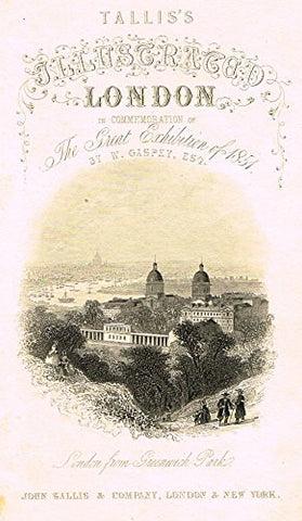 "Tallis's Illustrated London - ""TITLE PAGE - LONDON FROM GRENWICH PARK"" - Steel Engraving - 1851"