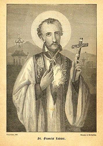 "Half Hours with the Servants of God - ""ST. FRANCIS XAVIER"" - Engraving - 1891"