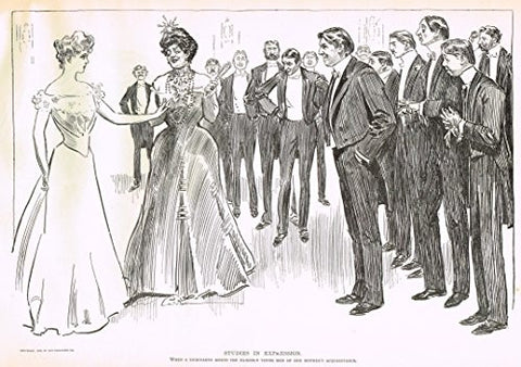 "The Gibson Book - ""DEBUTANTE MEETS MOTHER'S FRIENDS"" - Lithograph - 1907"