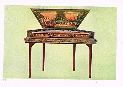 "Hipkins Musical Instruments - ""Dulcimer"" - Stipple Chromolithograph - 1923"