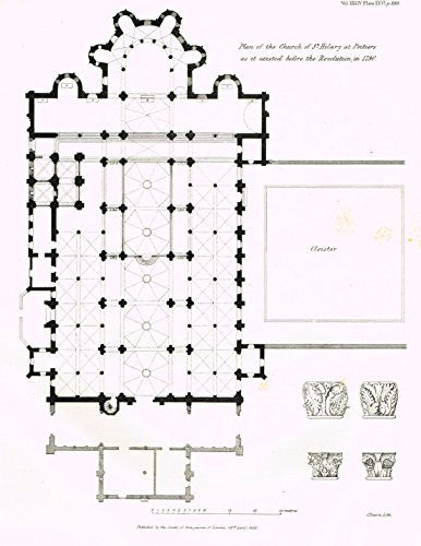 Archaeologia's Antiquity - PLAN OF THE CHURCH OF ST. HILARY AT POITIERS - Engraving - 1852