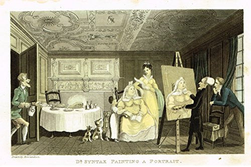 "Rowlandson's Dr. Syntax - ""DR. SYNTAX PAINTING A PORTRAIT"" - Aquatint - 1820"