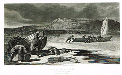 "Kane's Arctic Explorations - ""BROKEN FLOES NEARING PIKANTLIK"" - Steel Engraving - 1856"