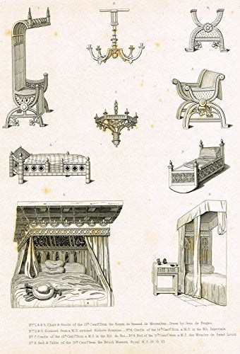 "Shaw's Furniture - ""VARIOUS FURNITURE FROM THE ROMAN DE RENAUD"" - Engraving - 1836"