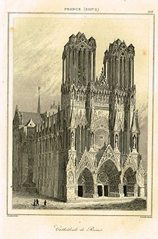 "Bas's France Encyclopedique - ""CATHEDRALE DE REIMS"" - Steel Engraving - 1841"