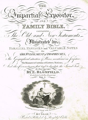 "Blomfield's Impartial Expsitor & Bible - ""TITLE PAGE"" - Antique Copper Engraving - 1815"