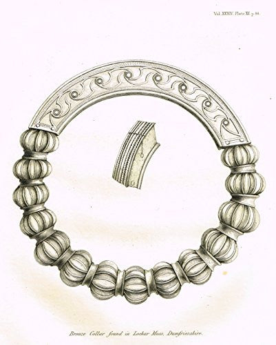 Archaeologia's Antiquity - BRONZE COLLAR FOUND IN LOCHAR MOSS, DUMFRIESSHIRE - Engraving - 1852