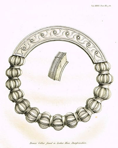 "Archaeologia's Antiquity - ""BRONZE COLLAR FOUND IN LOCHAR MOSS, DUMFRIESSHIRE"" - Engraving - 1852"