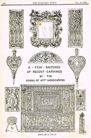 "Building News' - ""SKETCHES OF CARVINGS"" - Lithograph - 1885"