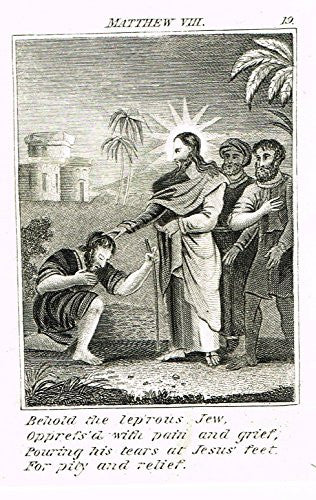 "Miller's Scripture History - ""JESUS HEALS THE LEPROUS JEW"" - Small Religious Copper Engraving - 1839"