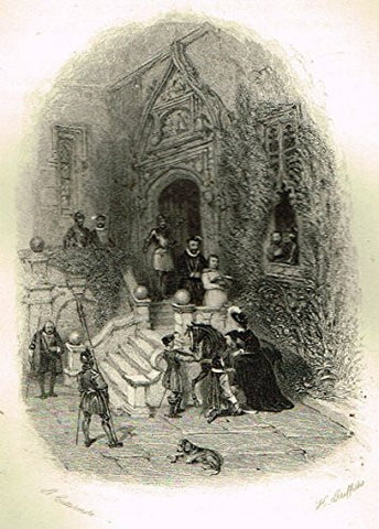 "Cattermole's 'Haddon Hall' - ""THE ROYAL VISIT"" - Miniature Steel Engraving - 1860"