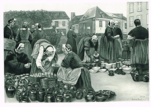 "Salons of 1901's ""EARTHENWARE MARKET (PONT-LABBE)"" by F. PIET - Photograveure - 1901"