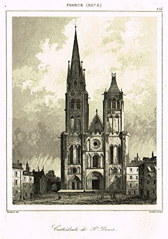 "Bas's France Encyclopedique - ""CATHEDRALE DE ST. DENIS"" - Steel Engraving - 1841"