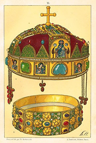 "Hottenroth's Le Costume - ""JEWELLED KING'S CROWN"" - Chromolithograph - 1890"