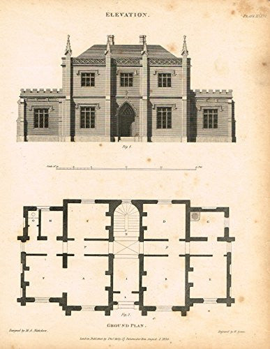 "Nicholson's Practical Builder - ""ELEVATION AND GROUND PLAN OF A HOUSE"" - Steel Engraving - 1836"