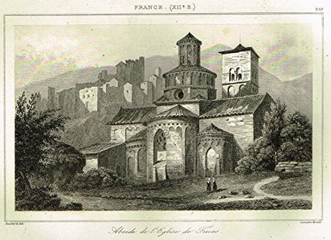 "Bas's France Encyclopedique - ""ABSIDE DE L'EGLISE DE TRUAS"" - Steel Engraving - 1841"