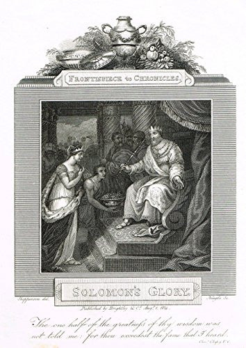 "Blomfield's Impartial Expsitor & Bible - ""FRONTISPIECE - SOLOMON'S GLORY"" - Engraving - 1815"