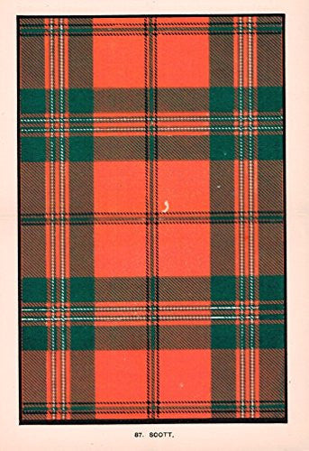"Johnston's Scottish Tartans - ""SCOTT"" - Chromolithograph - c1899"