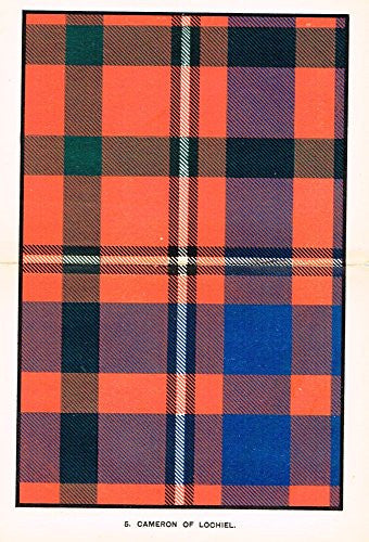 "Johnston's Scottish Tartans - ""CAMERON OF LOCHIEL"" - Chromolithograph - c1899"